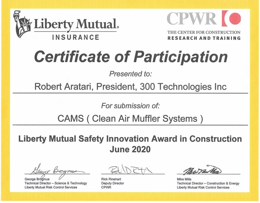 Liberty Mutual Safety and Innovation Award in Construction Certificate of Participation